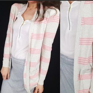 THEORY - cashmere cotton striped knit cardigan